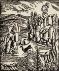Texas:Early Texas Art - Drawings & Prints, FLORENCE ELLIOTT MCCLUNG (American, 1894-1992). Devil'sGulch. Linocut on paper. 18-1/8 x 15-1/8 inches (46.0 x 38.4cm)...