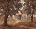Texas:Early Texas Art - Regionalists, CLIFFORD MOTT (American, 20th Century). Farm House, Denison,Texas. Oil on board. 16 x 20 inches (40.6 x 50.8 cm). Signe...