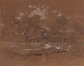 Texas:Early Texas Art - Pre-1900, KARL FRIEDRICH HERMANN LUNGKWITZ (German/American, 1813-1891).Water Mill (Grist Mill), circa 1851. Pencil and ink wash ...