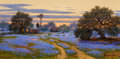 Texas:Early Texas Art - Regionalists, WILLIAM A. SLAUGHTER (American, 1923-2003). The Waning Day(Texas Sunset), 1985. Oil on canvas. 18 x 36 inches (45.7 x9...