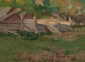 Paintings, JULIAN ONDERDONK (American, 1882-1922). Pig Pen in Mrs. Randall's Yard, Southampton, Long Island. Oil on board. 6 x 8 in...