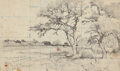 Texas:Early Texas Art - Regionalists, JULIAN ONDERDONK (American, 1882-1922). Dusty Road at Noon, LeonSprings, 1918. Pencil on paper. 8-7/8 x 12-3/8 inches (...