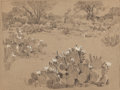 Texas:Early Texas Art - Regionalists, JULIAN ONDERDONK (American, 1882-1922). Oblate Fathers,1921. Pencil and white chalk on paper. 8-1/4 x 11 inches (21.0 x...
