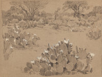 JULIAN ONDERDONK (American, 1882-1922) Oblate Fathers, 1921 Pencil and white chalk on paper 8-1/4