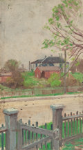 Paintings, JULIAN ONDERDONK (American, 1882-1922). Picket Fence (View of Chandler House from the Onderdonk House front porch, 128 Fre...