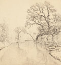 Texas:Early Texas Art - Regionalists, JULIAN ONDERDONK (American, 1882-1922). Olmos Creek, SanAntonio, 1914. Pencil on paper. 7-7/8 x 10-3/8 inches (20.0 x2...