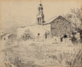 Works on Paper, JULIAN ONDERDONK (American, 1882-1922). Mission of San Juan Capistrano. Pen and ink on paper. 7 x 8-1/2 inches (17.8 x 2...