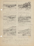 Texas:Early Texas Art - Regionalists, JULIAN ONDERDONK (American, 1882-1922). Memory (Sketches ofMedina River & Valley), 1915. Pencil on paper. 10-1/2 x 8in...