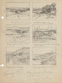 JULIAN ONDERDONK (American, 1882-1922) Memory (Sketches of Medina River & Valley), 1915 Pencil on pa