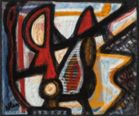JEAN-MICHEL ATLAN (French, 1913-1960) Untitled (Abstraction) Pastel on paper 17-1/2 x 21 inches (
