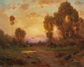 Fine Art - Painting, American, ANGEL ESPOY (American, 1879-1963). Golden Dusk. Oil oncanvas. 16 x 20 inches (40.6 x 50.8 cm). Signed lower right:A....