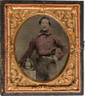 Photography:Tintypes, Early Photography: Cased Image of Fireman....