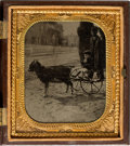 Photography:Tintypes, Early Photography: Cased Tintype of Boy in Goat Cart....
