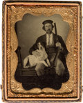 Photography:Tintypes, Early Photography: Tintype of Hunter and Dog....