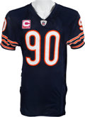 Football Collectibles:Uniforms, 2011 Julius Peppers Game Worn Chicago Bears Jersey With Multiple Photo Matches - Worn 10/16/11 vs. Vikings In 2 Sack Performan...