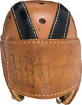 Football Collectibles:Helmets, 1940's Minnesota Golden Gophers Multi Signed Leather Helmet - With Bruce Smith!...