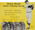 Baseball Collectibles:Others, Early 1960's Mickey Mantle Cooper Tires Advertising Sign....