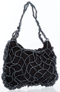 Art Glass:Daum, Bottega Veneta Black Satin & Beaded Evening Bag. ...