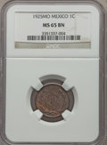 Mexico, Mexico: Republic Centavo 1925-Mo MS65 Brown NGC,...
