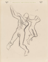THOMAS HART BENTON (American, 1889-1975) Figure Studies (two double-sided works) Each, pencil on pap
