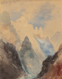 THOMAS MORAN (American, 1837-1926) From the Top of Great Fall, Yellowstone, 1871 Watercolor, pencil