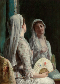 FREDERICK WARREN FREER (American, 1849-1908) The Old Veil, circa 1886-88 Oil on canvas 22 x 15-3/