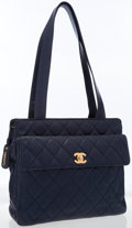 Luxury Accessories:Bags, Chanel Navy Quilted Caviar Leather Shoulder Bag with Gold Hardware. ...