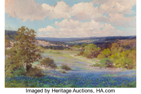 ROBERT WILLIAM WOOD (American, 1889-1979) Texas Bluebonnets, San Antonio, 1930 Oil on canvas 32 x 48-1/4 inches (81.3...