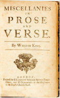 Books:Literature Pre-1900, King, William. Miscellanies In Prose And Verse.London: B. Lintott & H.. Clements, (1709). 8vo.a8,A-2L8,2M4,2N2...