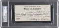 Baseball Collectibles:Others, 1941 Tony Lazzeri Signed Check, PSA/DNA Mint 9. ...