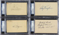 Autographs:Others, 1938-48 Hall of Fame Hitters Signed Postcards Lot of 4....