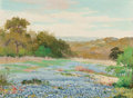Texas:Early Texas Art - Regionalists, PORFIRIO SALINAS (American, 1910-1973). Bluebonnets inSpring, ca. 1930s. Oil on canvasboard. 9 x 12 inches (22.9 x30.5...