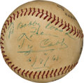 Autographs:Baseballs, 1961 Ty Cobb Single Signed Baseball--A Month before His Passing....