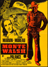 "Monte Walsh (20th Century Fox, 1970). German A1 (23.25"" X 33"") Red and Gold Style. Western"
