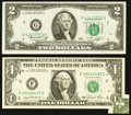 Error Notes:Inverted Reverses, Fr. 1911-F $1 1981 Federal Reserve Note. VF+. Fr. 1935-G $2 1976Federal Reserve Note. Choice CU.. ... (Total: 2 notes)