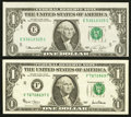 Error Notes:Error Group Lots, Fr. 1908-E $1 1974 Federal Reserve Note. About Uncirculated;. Fr.1926-F $1 2001 Federal Reserve Note. Very Fine-Extremely Fin...(Total: 2 notes)