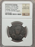 Ancients:Byzantine, Ancients: Justinian I the Great (AD 527-565). AE half-follis or 20nummi (29mm, 10.85 gm, 1h). NGC Fine 3/5 - 4/5....