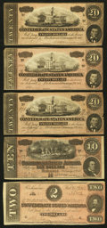 Confederate Notes:1864 Issues, T67 $20 1864 Three Examples. T68 $10 1864. T70 $2 1864.. ... (Total: 5 notes)