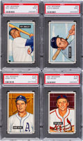 Baseball Cards:Lots, 1951 Bowman Baseball PSA Mint 9 Quartet (4). ...