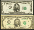 Error Notes:Error Group Lots, Fr. 1964-K $5 1950C Federal Reserve Note. Extremely Fine;. Fr.1975-E $5 1977A Federal Reserve Note. Very Fine-Extremely F...(Total: 2 notes)