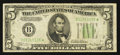 Small Size:Federal Reserve Notes, Fr. 1957-B* $5 1934A Federal Reserve Star Note. Very Fine.. ...