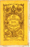 Books:Americana & American History, [Almanac] Robert B. Thomas. The Old Farmer's Almanac for1875. Worcester: Edward Whitney, 1875. Original wrappers, s...