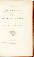 Books:Travels & Voyages, [Featured Lot] [Samuel Johnson]. A Journey to the Western Islands of Scotland. London: W. Strahan and T. Cadell, 177...