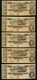 Confederate Notes:1864 Issues, T68 $10 1864 PF-44 Cr. 552 Five Examples.. ... (Total: 5 notes)