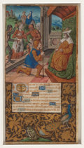 """Books:Manuscripts, [Illuminated Manuscript]. [Medieval Miniature on vellum from aFrench Book of Hours in Latin by the """"Monkey Master.""""] Herod's ..."""