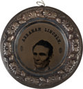 Political:Ferrotypes / Photo Badges (pre-1896), Abraham Lincoln: Largest Size Doughnut Ferrotype. ...