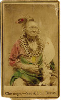Photography:CDVs, UNUSUAL HAND-TINTED CARTE DE VISITE OF CHE-NOPE, SAC & FOX BRAVE. CDVs of Indians are rare; hand-tinted ones ev... (Total: 1 Item)