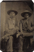 Photography:Tintypes, Extremely Rare Sixth Plate Tintype of Native American and AfricanAmerican Cowboys, ca. 1860-1870....