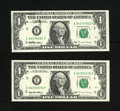 Error Notes:Ink Smears, Fr. 1921-E $1 1995 Federal Reserve Notes. Two Examples. Gem CrispUncirculated. These notes are closely numbered, with the l...(Total: 2 notes)