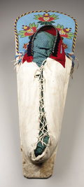 American Indian Art:Beadwork, A YAKIMA BEADED HIDE CRADLEBOARD. . c. 1890. ...